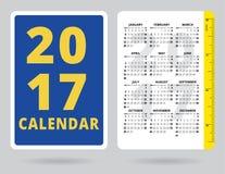 与英寸统治者的口袋日历2017年 免版税库存照片