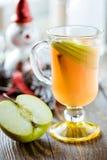 与苹果切片和肉桂条的新鲜的苹果汁 免版税图库摄影