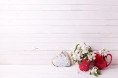 与苹果树的背景开花和在白色木pl的心脏 库存照片