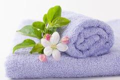 与苹果花的两块浅紫色的毛巾 免版税图库摄影