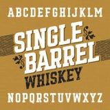 与范例设计的唯一桶威士忌酒标签字体 向量例证
