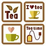 与茶元素和题字的四个贴纸 图库摄影