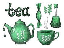 与茶元素的手拉的集合 水壶,杯子,杯子,焊接,糖果,横幅,印刷品,标签,菜单的设计的信件, 库存例证