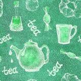 与茶元素茶壶,杯子,杯子,糖果,烘烤的无缝的样式 对墙纸设计,封皮,包装,scrapbooking, 皇族释放例证