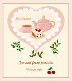 与茶壶、杯和蛋糕的背景 皇族释放例证
