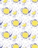 与茶壶和杯子的样式 免版税库存照片