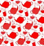 与茶壶和杯子的样式 免版税图库摄影