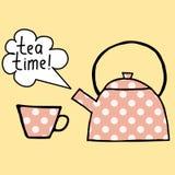 与茶壶和杯子的桃红色圆点茶具 库存照片
