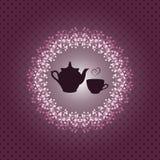 与茶壶和杯子的邀请卡片 免版税库存图片