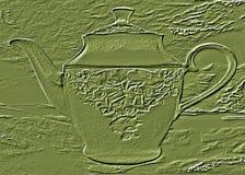 与茶壶的图片的绿色背景 库存图片