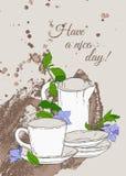 与茶壶的葡萄酒海报和荔枝螺杯子和花在棕色背景的 免版税图库摄影
