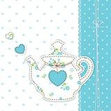 与茶壶的逗人喜爱的背景 库存图片
