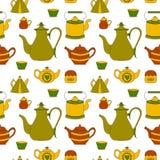 与茶时间元素的手拉的无缝的样式 皇族释放例证