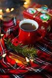 与茶的圣诞节主题的图象 库存照片