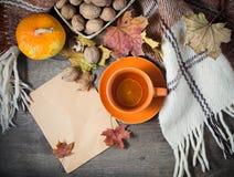 与茶的秋天静物画、格子花呢披肩和叶子 免版税库存照片