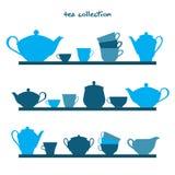 与茶罐和茶杯的架子 向量例证