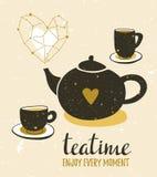 与茶静物画的时髦的例证  套茶壶和杯子 行家海报设计 与空间元素的传染媒介背景 库存照片