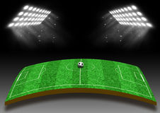 与草坪的橄榄球场在光下 免版税图库摄影