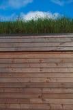 与草屋顶的木eco客舱 免版税库存图片