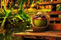 与草帽的椰子和明亮的太阳镜在温暖的口气的长凳站立 免版税库存照片