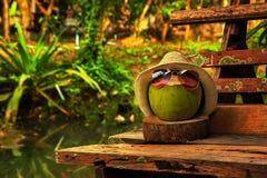 与草帽的椰子和明亮的太阳镜在长凳站立 免版税图库摄影