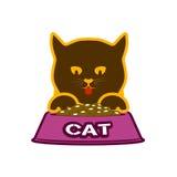 与草料碗的小猫宠物的食物标志 库存图片