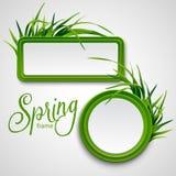 与草的春天框架 也corel凹道例证向量 免版税库存照片