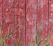 与草的老谷仓削皮房屋板壁 库存照片