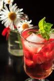 与草莓切片的碳酸化合的与花的柠檬水和薄菏 库存照片