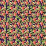 与草莓叶子和莓果的例证的水彩无缝的样式在紫罗兰色背景 向量例证