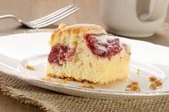 与草莓装填和搽粉的糖的蛋糕 库存照片