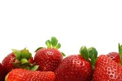 与草莓边缘的白色背景 库存图片