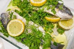 与荷兰芹和柠檬切片的生鱼在一个玻璃碗 免版税库存图片