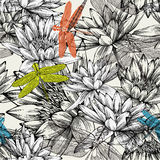 与荷花和蜻蜓的无缝的模式 库存图片