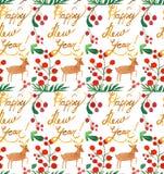 与莓果、鹿和新年快乐拷贝的水彩圣诞节假日无缝的样式 冬天新年题材 皇族释放例证