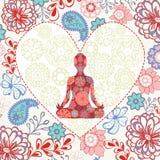 与莲花坐瑜伽的美好的背景在心脏形状 库存图片