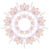 与莲花的抽象圆框架 库存图片