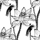 与莲花的无缝的样式 储蓄传染媒介 免版税库存图片