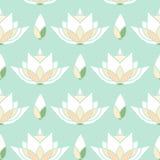 与莲花的无缝的马赛克样式设计 库存照片