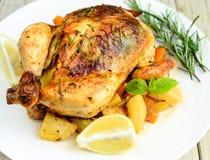 与莳萝甜石灰和薄菏的烤鸡 库存图片