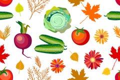 与菜、花和叶子的10月收获无缝的传染媒介样式 向量例证