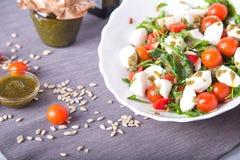 与菜、绿色和无盐干酪的沙拉 免版税库存图片