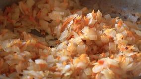 与菜和切好的红萝卜的圆白菜在煎锅油煎 影视素材