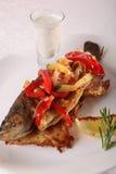与菜和小汤的鱼 库存照片