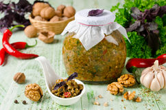 与菜和核桃的自创调味汁adjika 库存照片