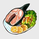 与菜和桔子的鱼排 皇族释放例证