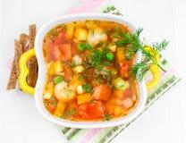 与菜和油煎方型小面包片的汤。 免版税图库摄影