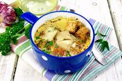 与菜和油煎方型小面包片的汤鱼在轻的委员会 图库摄影