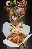 与菜和海鲜的米 免版税库存照片