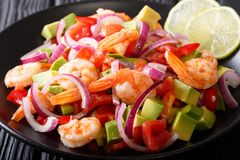与菜和石灰接近的拉丁美洲的ceviche海鲜 免版税库存照片